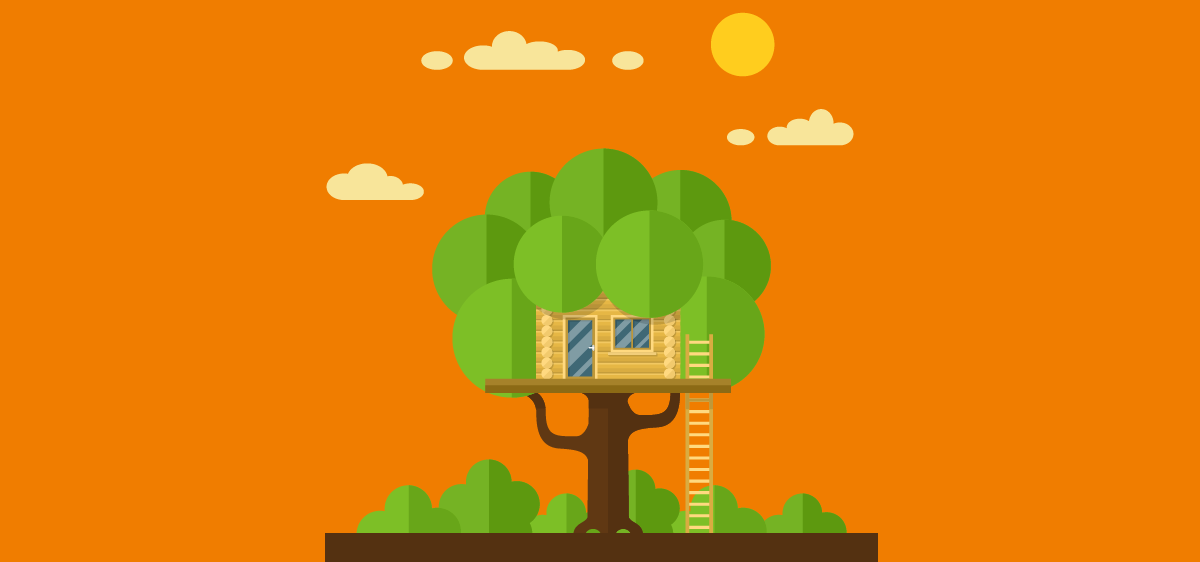 illustration d'un arbre sur fond orange
